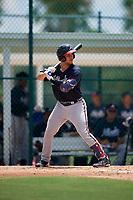 GCL Braves Javier Valdes (11) bats during a Gulf Coast League game against the GCL Pirates on July 30, 2019 at Pirate City in Bradenton, Florida.  GCL Braves defeated the GCL Pirates 10-4.  (Mike Janes/Four Seam Images)