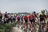 Mads Pedersen (DEN/Trek Segafredo) following the wheel of Matteo Trentin (ITA/Scott Mitchelton)<br /> <br /> 116th Paris-Roubaix (1.UWT)<br /> 1 Day Race. Compiègne - Roubaix (257km)