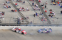 May 31, 2008; Dover, DE, USA; Nascar Nationwide Series driver Landon Cassill (5) spins after contact with Greg Biffle (16) during the Heluva Good 200 at the Dover International Speedway. Mandatory Credit: Mark J. Rebilas-US PRESSWIRE