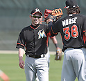 (L-R) Ichiro Suzuki, Michael Morse (Marlins),<br /> FEBRUARY 24, 2014 - MLB :<br /> Miami Marlins spring training camp in Jupiter, Florida, United States. (Photo by AFLO)