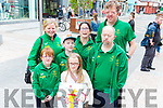 Eimear and Sarah Moloney, Darragh Galvin, Martin Foley, Alan Murray, Mary Joe Daly and Lorna O'Sullivan awaiting the arrival of the Special Olympics torch in the Mall on Monday afternoon.