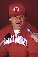 SAN FRANCISCO, CA - Manager Pete Rose of the Cincinnati Reds talks to the media in the dugout before a game against the San Francisco Giants at Candlestick Park in San Francisco, California on June 18, 1987. Photo by Brad Mangin