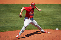 Palm Beach Cardinals starting pitcher Jacob Evans (38) delivers a pitch during a game against the Charlotte Stone Crabs on April 10, 2016 at Charlotte Sports Park in Port Charlotte, Florida.  Palm Beach defeated Charlotte 4-1.  (Mike Janes/Four Seam Images)
