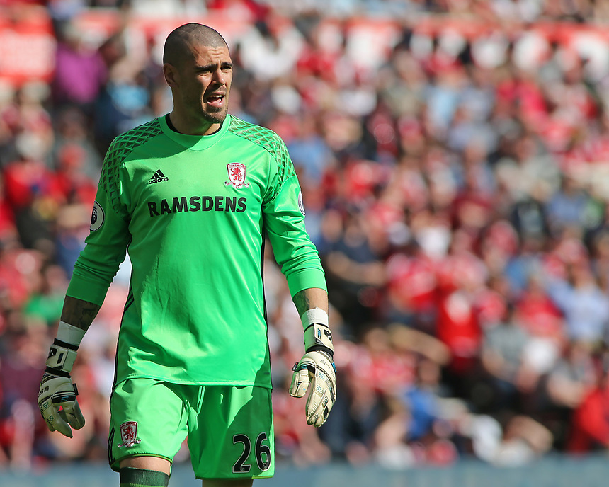Middlesbrough's Victor Valdes in action<br /> <br /> Photographer David Shipman/CameraSport<br /> <br /> The Premier League - Middlesbrough v Burnley - Saturday 8th April 2017 - Riverside Stadium - Middlesbrough<br /> <br /> World Copyright &copy; 2017 CameraSport. All rights reserved. 43 Linden Ave. Countesthorpe. Leicester. England. LE8 5PG - Tel: +44 (0) 116 277 4147 - admin@camerasport.com - www.camerasport.com