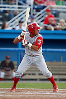 Williamsport Crosscutters catcher Francisco Diaz #2 during the second game of a doubleheader against the Batavia Muckdogs at Dwyer Stadium on August 23, 2011 in Batavia, New York.  Batavia defeated Williamsport 2-1.  (Mike Janes/Four Seam Images)
