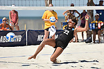 GULF SHORES, AL - MAY 07: Ari Homayun (22) of the University of Hawaii dives for a return against Pepperdine University during the Division I Women's Beach Volleyball Championship held at Gulf Place on May 7, 2017 in Gulf Shores, Alabama. (Photo by Stephen Nowland/NCAA Photos via Getty Images)
