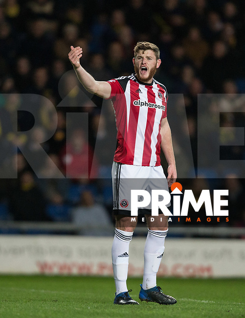 Jack O'Connell of Sheffield United during the Sky Bet League 1 match between Oxford United and Sheff United at the Kassam Stadium, Oxford, England on 7 March 2017. Photo by Andy Rowland / PRiME Media Images.
