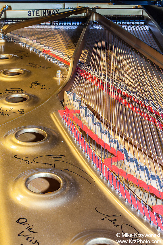 View of the inside of an open Steinway grand piano