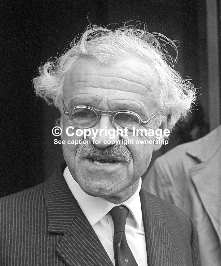 Lord Rochdale, outgoing chairman, Harland &amp; Wolff shipyard, Belfast, N Ireland, 4th November 1975. Born John Durival Kemp. 197511040713LR1<br />