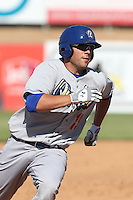 Steven Proscia #19 of the Rancho Cucamonga Quakes runs the bases during a game against the High Desert Mavericks at Stater Bros. Stadium on May 27, 2014 in Adelanto, California. High Desert defeated Rancho Cucamonga, 5-4. (Larry Goren/Four Seam Images)