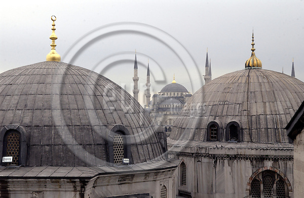 Istanbul-Turkey - 07 April 2006---View out of Ayasofya (Hagia Sofia Sophia) towards the Sultan Ahmed Mosque (Blue Mosque of Istanbul) with its minarets in the background---culture, religion, architecture---Photo: Horst Wagner / eup-images