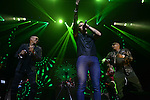 MIAMI, FL - FEBRUARY 14: Alexander Delgado (R) and Randy Malcom Martinez (L) of Gente de Zona and Leoni Torres (C) performs during Leoni Torres Y Sus Amigos With Special Guest Gente De Zona concert at James L. Knight Center on February 14, 2017 in Miami, Florida.  ( Photo by Johnny Louis / jlnphotography.com )
