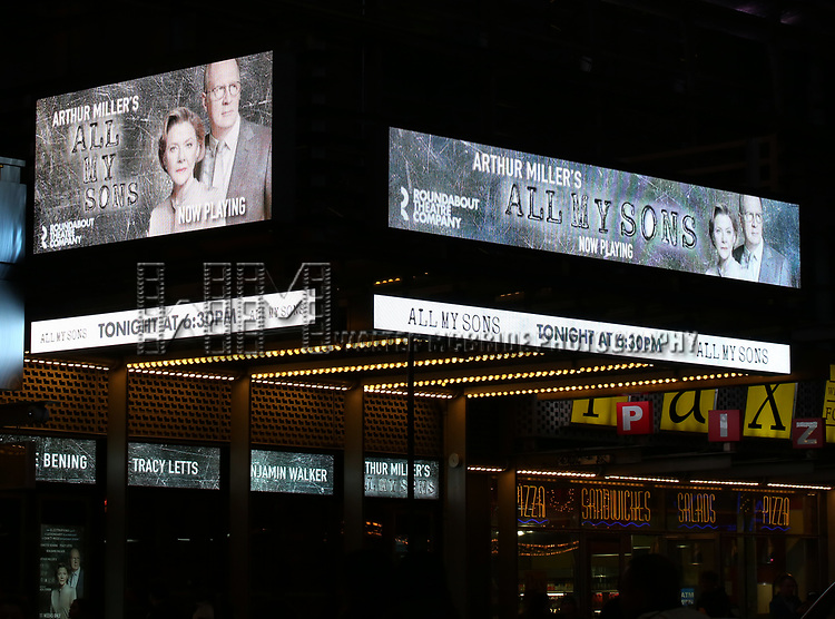 """Theatre Marquee for Arthur Miller's """"All My Sons"""" starring Annette Bening and Tracy Letts at The American Airlines Theatre on April 22, 2019  in New York City."""