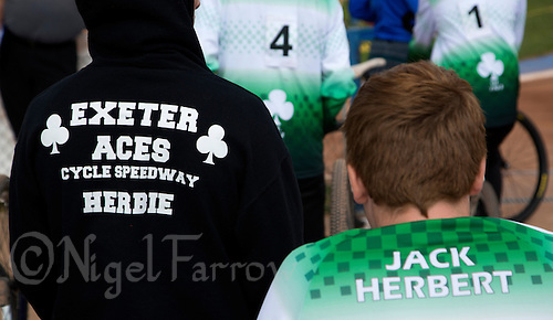 13 SEP 2014 - IPSWICH, GBR - Exeter Aces team members wait for their heats during the 2014 British Open Club Cycle Speedway Championships at Whitton Sports & Community Centre in Ipswich, Great Britain (PHOTO COPYRIGHT © 2014 NIGEL FARROW, ALL RIGHTS RESERVED)