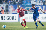 Guangzhou Forward Alan Douglas De Carvalho (L) fights for the ball with Suwon Midfielder Lee Jong Sung (R) during the AFC Champions League 2017 Group G match Between Suwon Samsung Bluewings (KOR) vs Guangzhou Evergrande FC (CHN) at the Suwon World Cup Stadium on 01 March 2017 in Suwon, South Korea. Photo by Victor Fraile / Power Sport Images