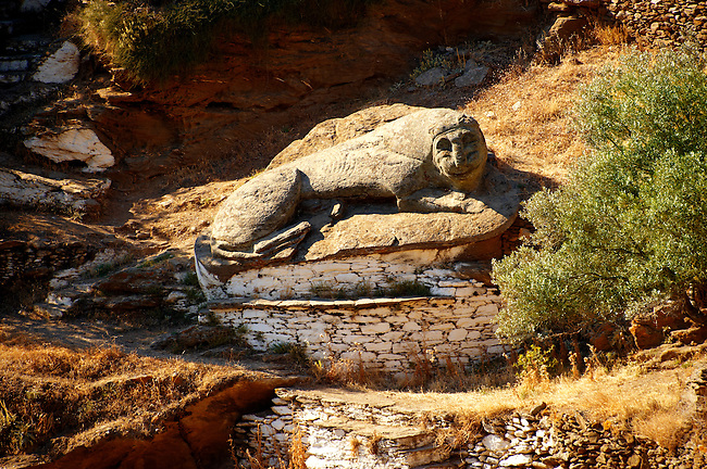 The ancient Lion of Kea (600BC - one of the oldest sculptures in Greece), Ioulis, Kea Greek Cyclades Islands