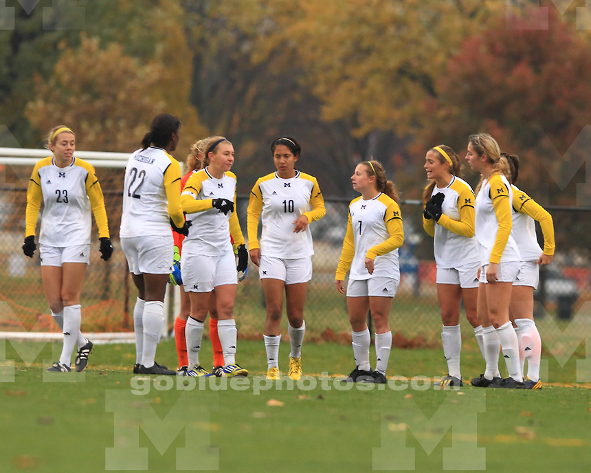 The University of Michigan women's soccer team were shut out 1-0 by Iowa in the first round of the 2013 Women's Soccer Big Ten Tournament. Champagne, IL. November 6, 2013