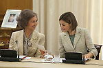 Spanish Royals Queen Sofia of Spain (L) and Queen Letizia of Spain attend a meeting with `Help Against Drugs Foundation´ representatives at Zarzuela Palace in Madrid, Spain. September 29, 2015. (ALTERPHOTOS/Victor Blanco)