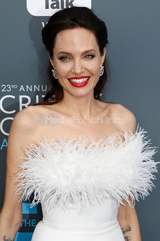 Angelina Jolie attends the 23rd Annual Critics' Choice Awards at Barker Hangar in Santa Monica, Los Angeles, USA, on 11 January 2018. Photo: Hubert Boesl - NO WIRE SERVICE - Photo: Hubert Boesl/dpa /MediaPunch ***FOR USA ONLY***