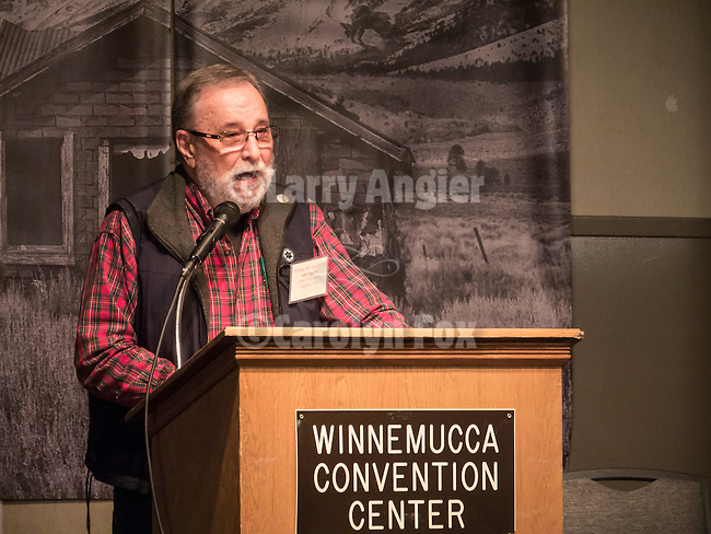 Shooting the West XXVII, Winnemucca, Nev.<br /> <br /> Sam Hipkins, master of ceremonies at STW 2015 introduces Winnemucca Mayor Di An Putman.