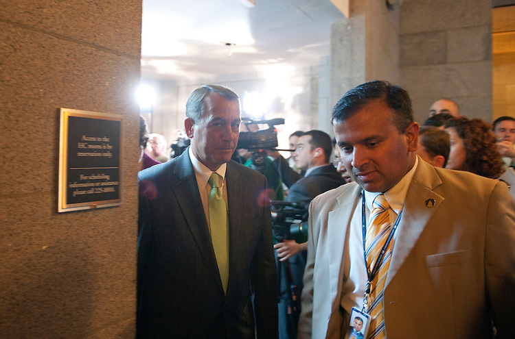 UNITED STATES - JULY 12: House Speaker John Boehner, R-Ohio; leaves the media availability following a closed GOP conference meeting in the U.S. Capitol. (Photo By Douglas Graham/Roll Call)