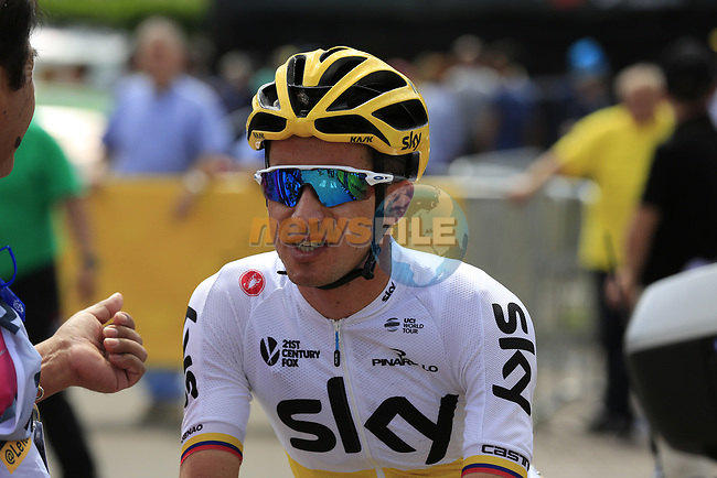 Sergio Henao Montoya (COL) Team Sky at sign on in Mondorf-les-Bains before the start of Stage 4 of the 104th edition of the Tour de France 2017, running 207.5km from Mondorf-les-Bains, Luxembourg to Vittel, France. 4th July 2017.<br /> Picture: Eoin Clarke | Cyclefile<br /> <br /> <br /> All photos usage must carry mandatory copyright credit (&copy; Cyclefile | Eoin Clarke)