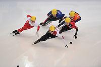 "SHORT TRACK: MOSCOW: Speed Skating Centre ""Krylatskoe"", 13-03-2015, ISU World Short Track Speed Skating Championships 2015, Marianne ST-GELAIS (#009 | CAN), Evgeniya ZAKHAROVA (#058 | RUS), Bianca Walter (#025 | GER), Elena VIVIANI (#031 | ITA), Yara VAN KERKHOF (#051 | NED), ©photo Martin de Jong"