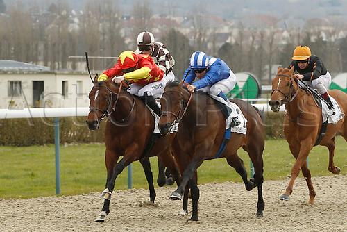 08.03.2016. Deauville, France.  Race 1, Prix de Bacqueville.  Winner Mutarakem with jockey Aurelien Lemaitre and 2nd placed Jackfish with Pierre Charles Boudot