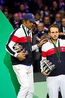 Le joueur de tennis français Lucas Pouille opposé au joueur Croate Marin Cilic lors de la  Finale de la Coupe Davis France vs Croatie, au Stade Pierre Mauroy à Villeneuve d'Ascq .<br /> France, Villeneuve d'Ascq , 25 novembre 2018.<br /> French tennis player Lucas Pouille vs Croatian tennis players Marin Cilic during the final of the Davis Cup, at the Pierre Mauroy stadium in Villeneuve d'Ascq .<br /> France, Villeneuve d'Ascq , 25 November 2018<br /> Pic : Yannick Noah & Lucas Pouille