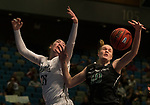 Idaho's Geraldine McCorkell, left, and Portland State's Courtney West fight for a lose ball in a women's Big Sky Tournament semi-final game held at the Reno Events Center on Friday, March 9, 2018 in Reno, Nevada.