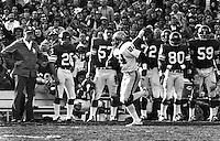 Willie Brown runs down the sideline past the Viking bench on rout to a interception TD in 1977 SuperBowl..(copyright 1977 Ron Riesterer/Oakland Tribune)