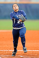 11 February 2012:  FIU's Mariah Dawson (23) pitches as the University of Massachusetts Minutewomen defeated the FIU Golden Panthers, 3-1, as part of the COMBAT Classic Tournament at the FIU Softball Complex in Miami, Florida.