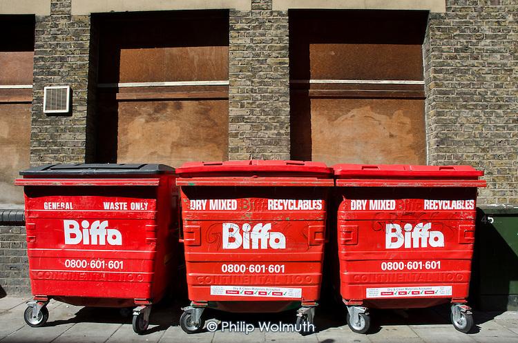 Biffa general waste and recycling bins, Ilford, Essex.