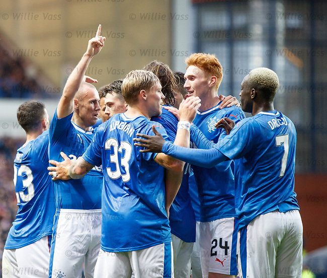Kenny Miller celebrates after scoring the opening goal
