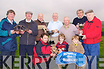 CUPS: Jimmy Browne of the White Sands Hotel who presented the White Sands All Age Cup to Pat Cunningham the owner of the winning dog, Front l-r: Darren Houlihan, Seamus Lucy and Ryan Houlihan. Back Pat McElligott, Diarmuid Slattery, Jimmy Browne (sponsor), Pat Cunningham, Patsy Callaghan (trainer), Michael Casey and Michael Perry......... ....................
