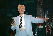 David Bowie - performing live on the Serious Moonlight Tour at Madison Square Garden in New York USA - July 25,1983.   Photo Credit : David Plastik/Iconicpix