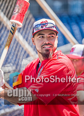 23 May 2015: Washington Nationals infielder Anthony Rendon awaits his turn in the batting cage prior to a game against the Philadelphia Phillies at Nationals Park in Washington, DC. The Phillies defeated the Nationals 8-1 in the second game of their 3-game weekend series. Mandatory Credit: Ed Wolfstein Photo *** RAW (NEF) Image File Available ***