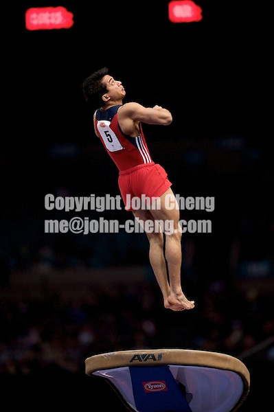 3/1/08 - Photo by John Cheng -  Raj Bhavsar of the United States performs on vault at the Tyson American Cup in Madison Square GardenPhoto by John Cheng - Tyson American Cup 2008 in Madison Square Garden, New York.Bhavsar