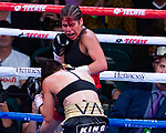 Seneisa Estrada East LA Ca Estrada  (R) won by technical unanimous-decision victory after the ninth round over Marlen Exparza  (L) Houston Tx Vacant Flywright