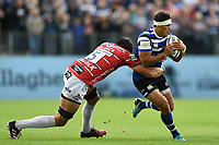 Jackson Willison of Bath Rugby is tackled by Mariano Galarza of Gloucester Rugby. Gallagher Premiership match, between Bath Rugby and Gloucester Rugby on September 8, 2018 at the Recreation Ground in Bath, England. Photo by: Patrick Khachfe / Onside Images