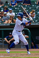 Iowa Cubs shortstop Munenori Kawasaki (1) at bat during a game against the Colorado Springs Sky Sox on September 4, 2016 at Principal Park in Des Moines, Iowa. Iowa defeated Colorado Springs 5-1. (Brad Krause/Four Seam Images)
