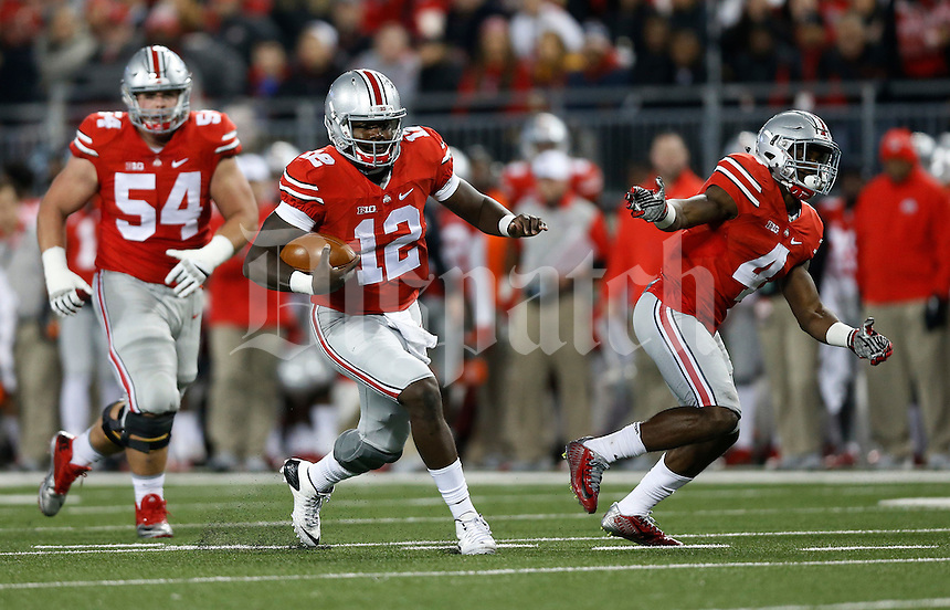 Ohio State Buckeyes quarterback Cardale Jones (12) in action   during an NCAA football game between the Ohio State Buckeyes and the Minnesota Golden Gophers at Ohio Stadium on Saturday, November 7, 2015. (Columbus Dispatch photo by Fred Squillante)
