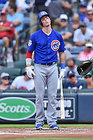Chicago Cubs left fielder Chris Coghlan (8) reacts to a called strike during a game against the Atlanta Braves at Turner Field on June 11, 2016 in Atlanta, Georgia. The Cubs defeated the Braves 8-2. (Tony Farlow/Four Seam Images)