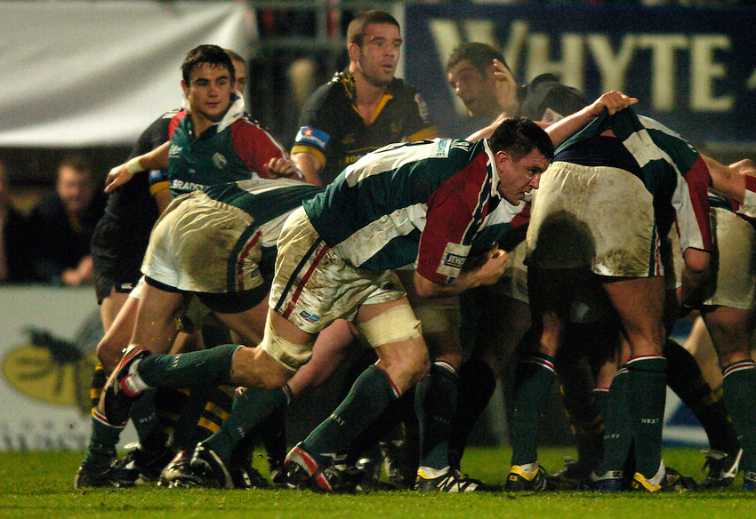 Photo: Richard Lane..London Wasps v Leicester Tigers. Heineken Cup. 05/12/2004..Martin Corry breaks from a scrum.
