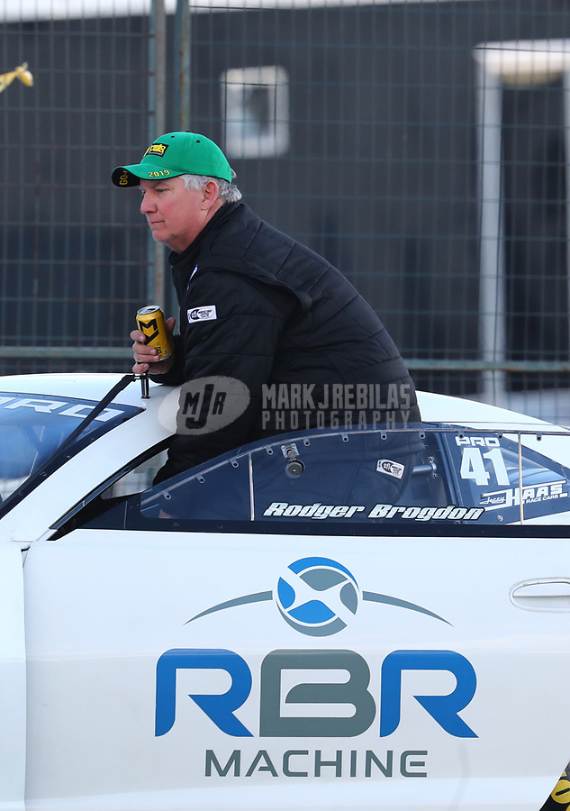 Feb 9, 2019; Pomona, CA, USA; NHRA pro stock driver Rodger Brogdon during qualifying for the Winternationals at Auto Club Raceway at Pomona. Mandatory Credit: Mark J. Rebilas-USA TODAY Sports