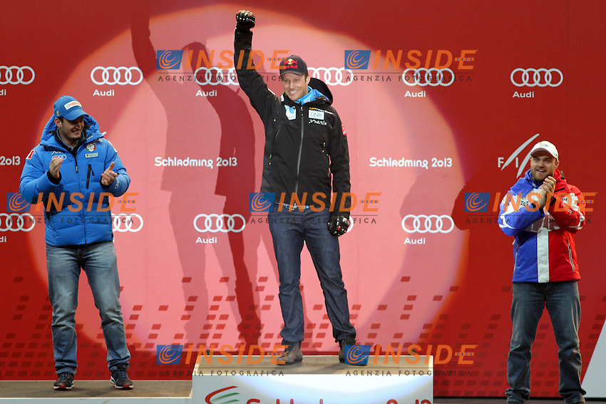 2nd place Dominik Paris from Italy, 1st place Aksel Lund Svindal from Norway, 3rd place David Poisson from France.09.02.2013, Tirolberg, Schladming, AUT, FIS .Mondiali Sci Alpino.Discesa Libera Uomini.foto Insidefoto / EXPA/ Martin Huber