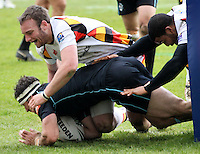 PICTURE BY MARK GREEN/SWPIX.COM - Rugby League - Carnegie Challenge Cup, 4th Round - London Broncos v Dewsbury Rams, The Stoop, Twickenham, England - 15/04/12 - London Bronco's Chris Bailey forces his way over the line in the 2nd half.
