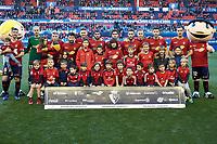 Titular team of the CA Osasuna before the Spanish football of La Liga 123, match between CA Osasuna and AD Alcorcón at the Sadar stadium, in Pamplona (Navarra), Spain, on Sanday, December 16, 2018.