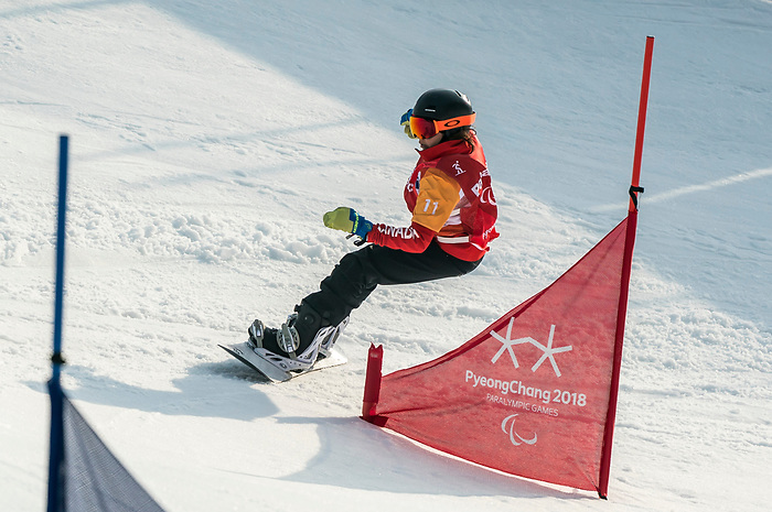 PyeongChang 12/3/2018 - Sandrine during the snowboard cross competition at the Jeongseon Alpine Centre during the 2018 Winter Paralympic Games in Pyeongchang, Korea. Photo: Dave Holland/Canadian Paralympic Committee