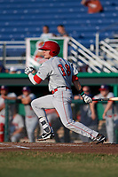 Auburn Doubledays right fielder Jacob Rhinesmith (18) follows through on a swing during a game against the Batavia Muckdogs on June 28, 2018 at Dwyer Stadium in Batavia, New York.  Auburn defeated Batavia 14-9.  (Mike Janes/Four Seam Images)